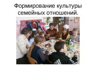 Формирование культуры семейных отношений.
