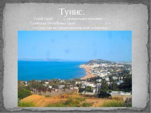 Тунис. Туни́с (араб. تونس), официальное название — Туни́сская Респу́блика (