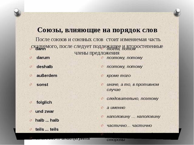 Союзы, влияющие на порядок слов После союзов и союзных слов стоит изменяема...