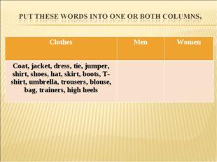 ClothesMenWomen Coat, jacket, dress, tie, jumper, shirt, shoes, hat, skirt,