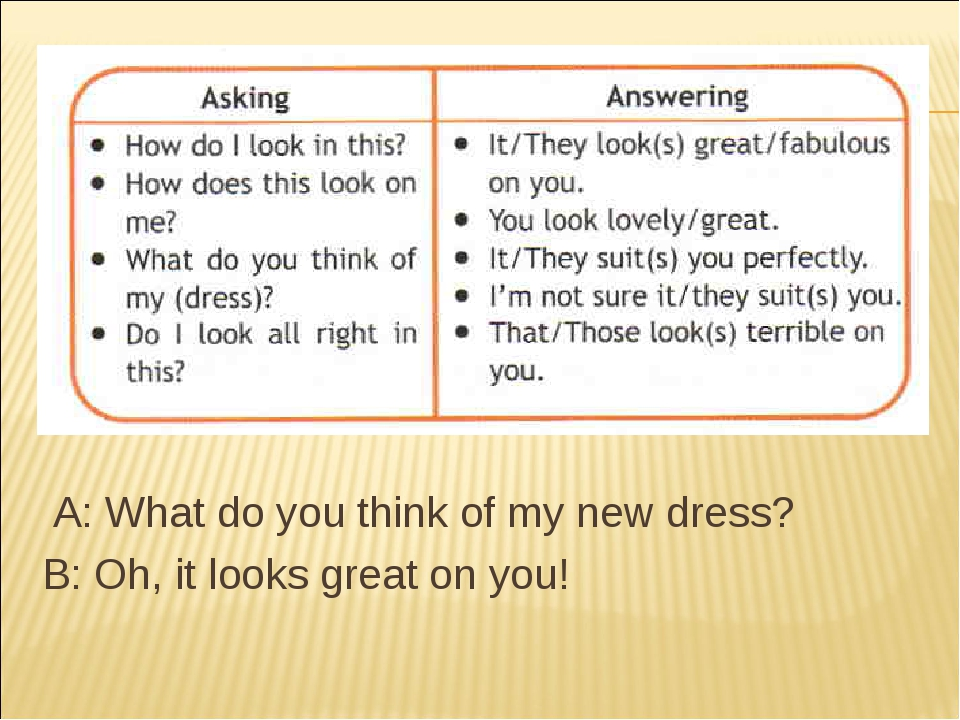 A: What do you think of my new dress? B: Oh, it looks great on you!