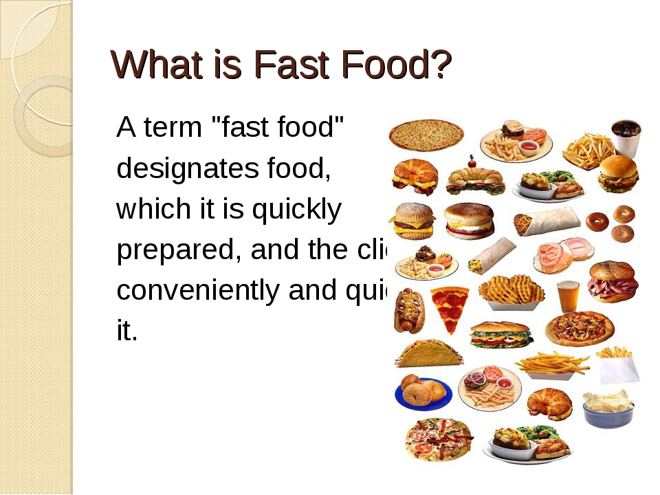 fast food 5 essay Fast food is a type of food that is prepared and served within a few minutes it is very convenient to buy it when you are busy and want to eat on the move of course, this so-called street food has its advantages and disadvantages to pros, i would include the fact that it can spare the time of a lot of.