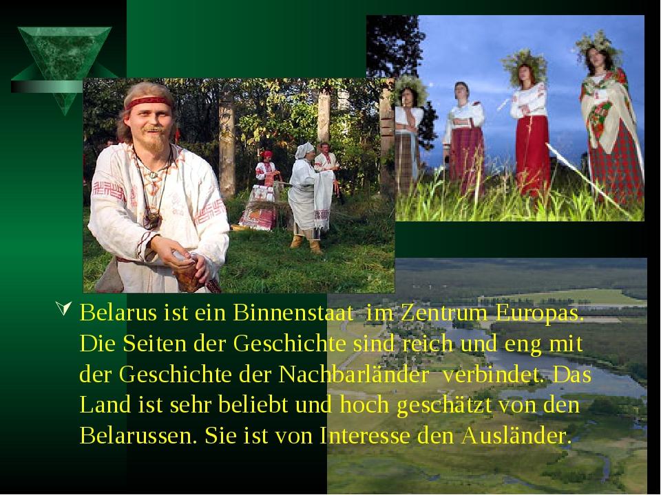 Belarus ist ein Binnenstaat im Zentrum Europas. Die Seiten der Geschichte sin...