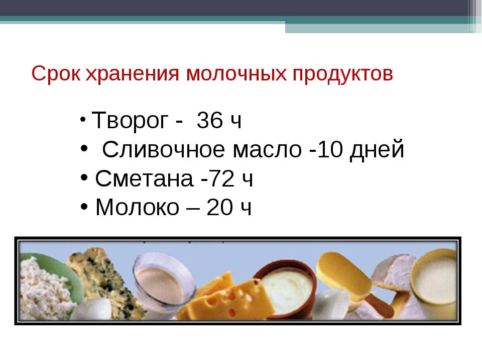 Срок хранения молочных продуктов Творог - 36 ч Сливочное масло -10 дней Смета...
