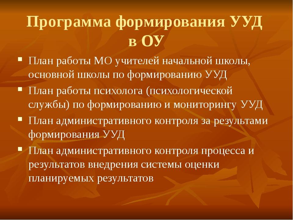 Программа формирования УУД в ОУ План работы МО учителей начальной школы, осно...