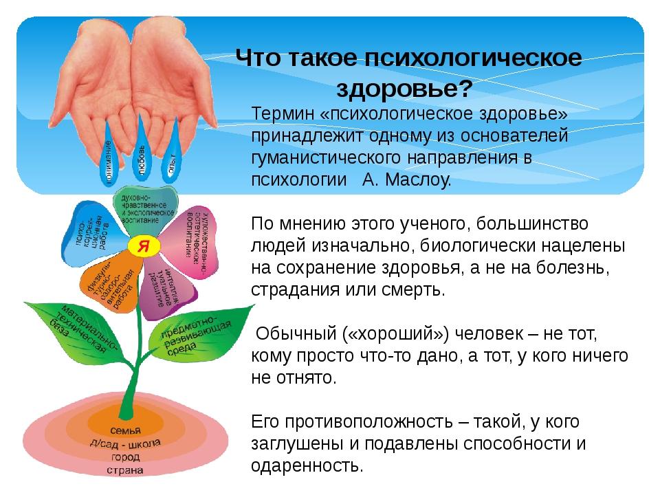 Термин «психологическое здоровье» принадлежит одному из основателей гуманист...