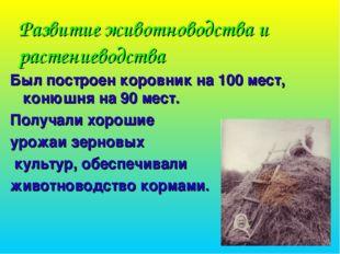 Развитие животноводства и растениеводства Был построен коровник на 100 мест,