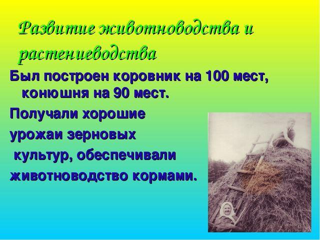 Развитие животноводства и растениеводства Был построен коровник на 100 мест,...