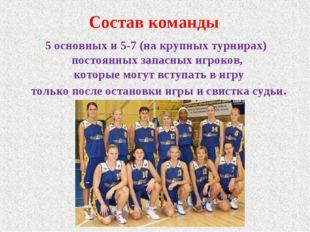 Состав команды 5 основных и 5-7 (на крупных турнирах) постоянных запасных игр