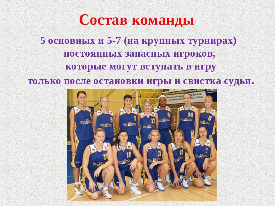 Состав команды 5 основных и 5-7 (на крупных турнирах) постоянных запасных игр...