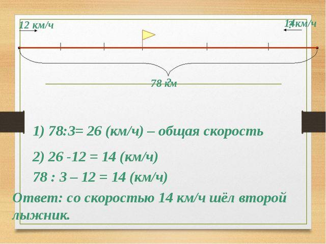 12 км/ч 14км/ч ? 78 км ? 1) 78:3= 26 (км/ч) – общая скорость 2) 26 -12 = 14 (...