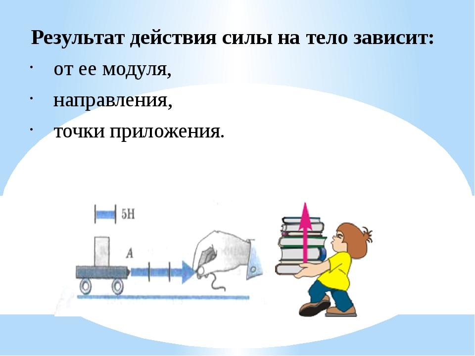 Результат действия силы на тело зависит: от ее модуля, направления, точки при...