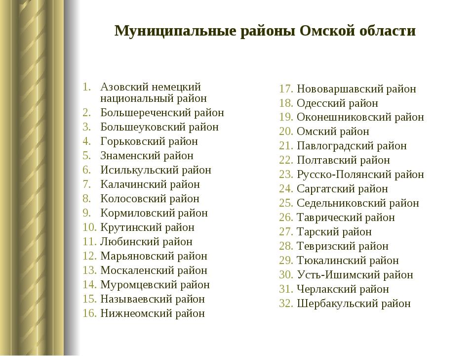 Азовский немецкий национальный район Большереченский район Большеуковский рай...