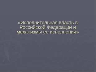 «Исполнительная власть в Российской Федерации и механизмы ее исполнения»