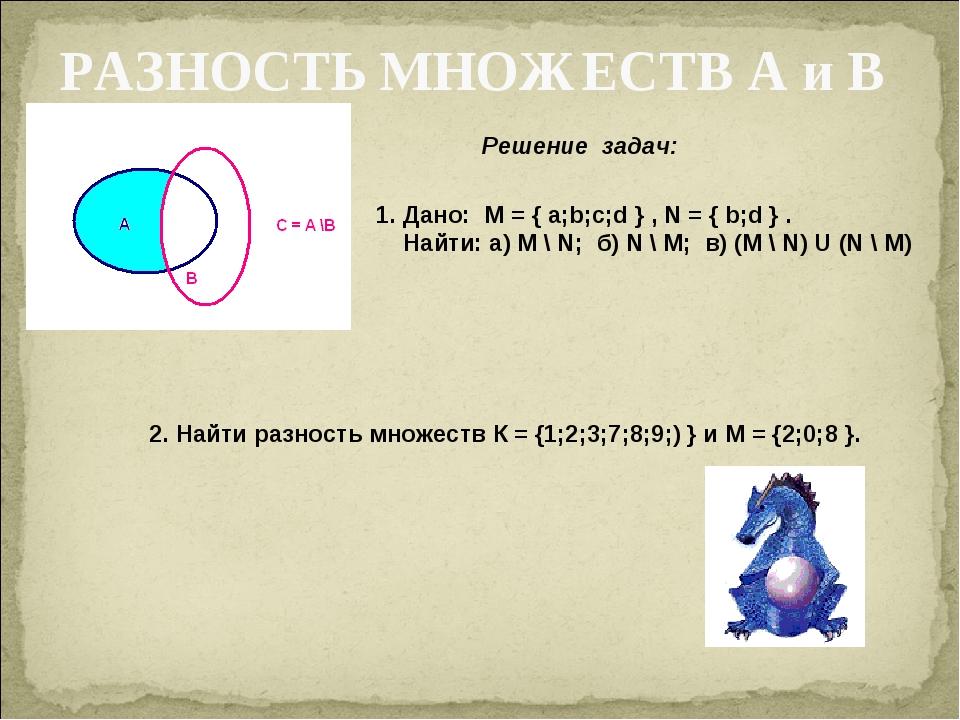 РАЗНОСТЬ МНОЖЕСТВ А и В Решение задач: 1. Дано: M = { a;b;c;d } , N = { b;d }...