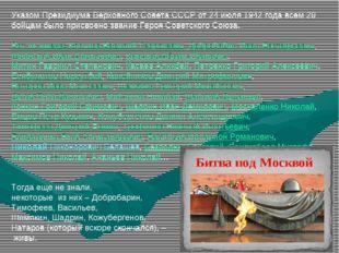 Указом Президиума Верховного Совета СССР от 24 июля 1942 года всем 28 бойцам