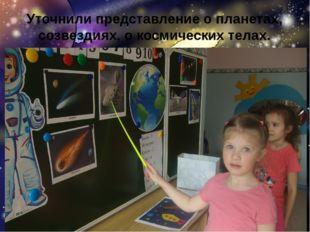Уточнили представление о планетах, созвездиях, о космических телах.