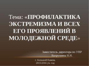 Тема: «ПРОФИЛАКТИКА ЭКСТРЕМИЗМА И ВСЕХ ЕГО ПРОЯВЛЕНИЙ В МОЛОДЕЖНОЙ СРЕДЕ» За