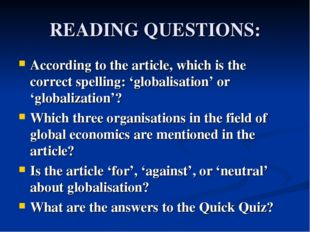READING QUESTIONS: According to the article, which is the correct spelling: '