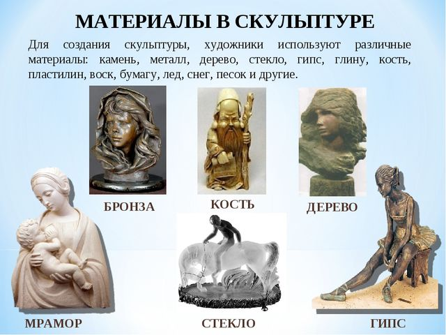 МАТЕРИАЛЫ В СКУЛЬПТУРЕ ГИПС МРАМОР ДЕРЕВО БРОНЗА СТЕКЛО Для создания скульпту...