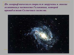 По логарифмическим спиралям закручены и многие галактики,в частности Галактик