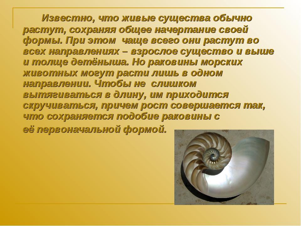 Известно, что живые существа обычно растут, сохраняя общее начертание своей...