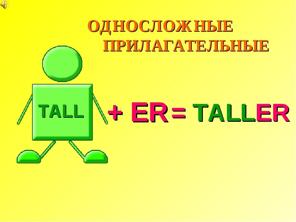 = TALLER TALL + ER ОДНОСЛОЖНЫЕ ПРИЛАГАТЕЛЬНЫЕ
