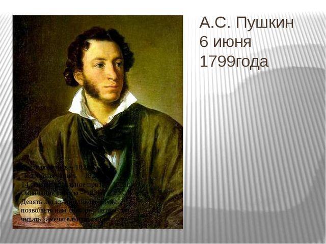 А.С. Пушкин 6 июня 1799года Краткая запись – 1822г. Подробная запись – 1824г....