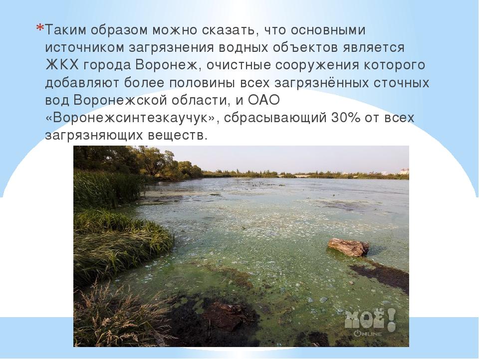 Таким образом можно сказать, что основными источником загрязнения водных объе...