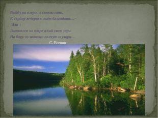 Выйду на озеро, в синюю гать, К сердцу вечерняя льёт благодать…-- Или : Вытка