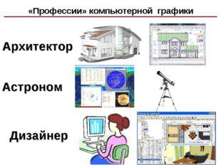 Архитектор Астроном Дизайнер «Профессии» компьютерной графики