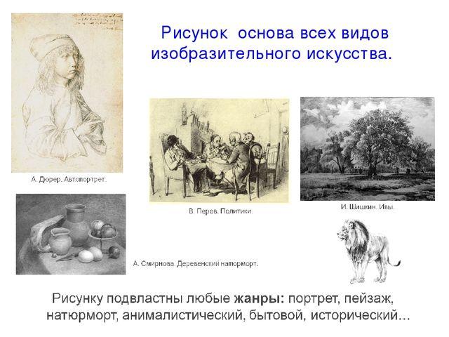 Рисунок основа всех видов изобразительного искусства.