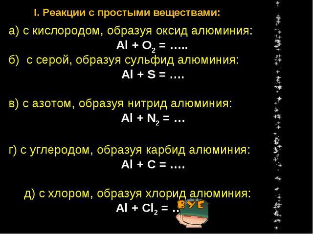 б) с серой, образуя сульфид алюминия: Al + S = …. в) с азотом, образуя нитрид...