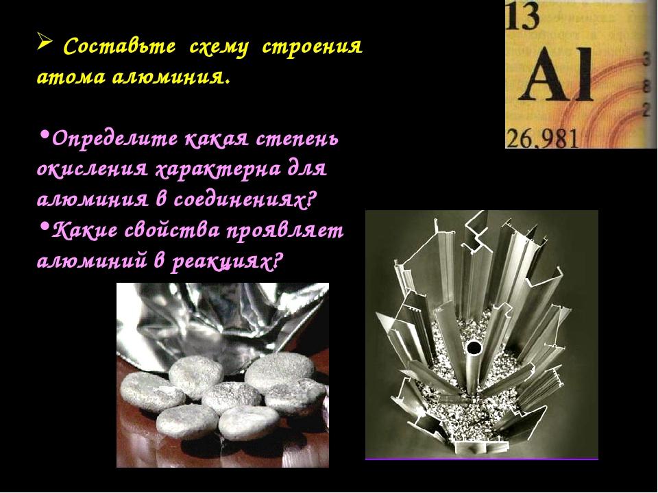 Составьте схему строения атома алюминия. Определите какая степень окисления...