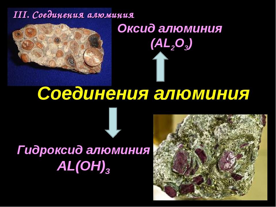 III. Соединения алюминия Соединения алюминия Оксид алюминия (AL2O3) Гидроксид...