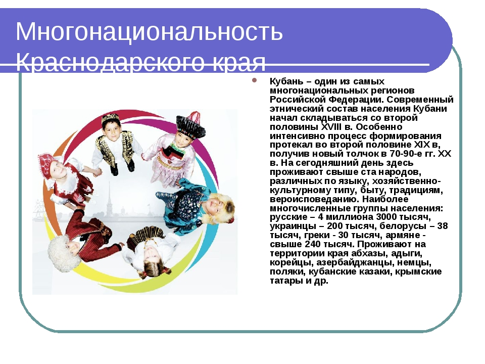 Многонациональность Краснодарского края Кубань – один из самых многонациональ...