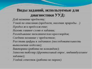 Виды заданий, используемые для диагностики УУД: Дай название предмету; Узнай