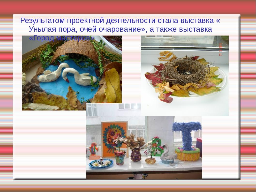 Результатом проектной деятельности стала выставка « Унылая пора, очей очарова...
