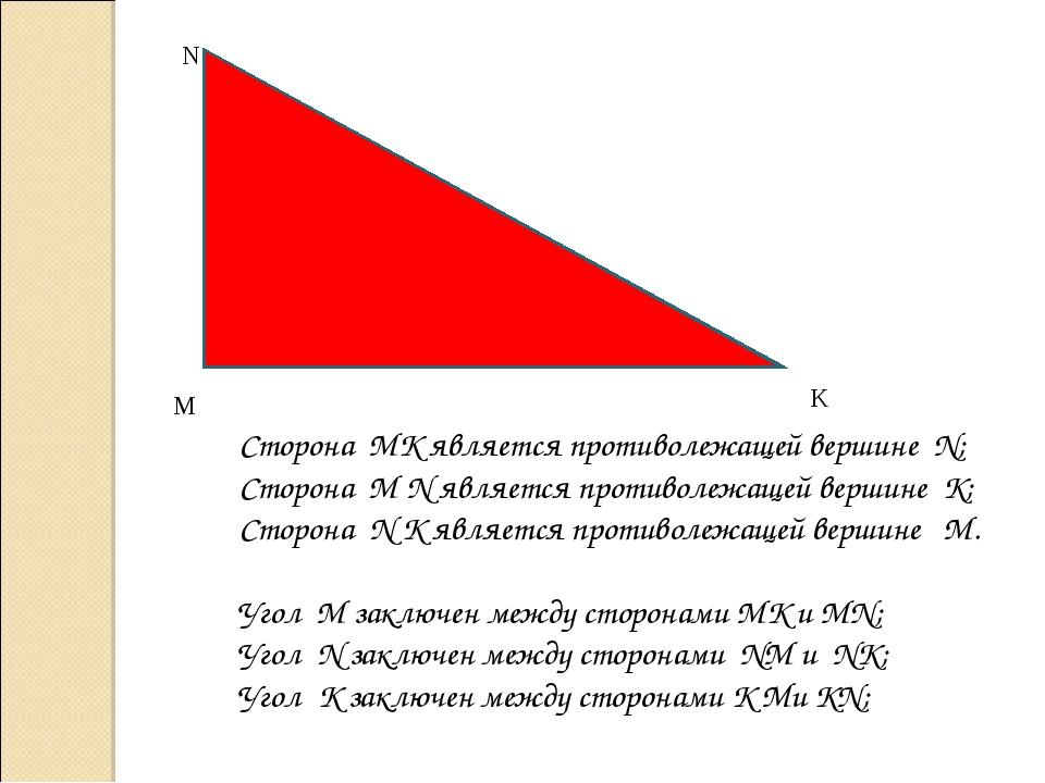 M N K Сторона МК является противолежащей вершине N; Сторона М N является прот...