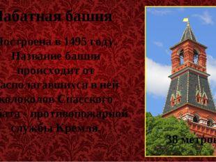 Набатная башня Построена в 1495 году. Название башни происходит от располагав