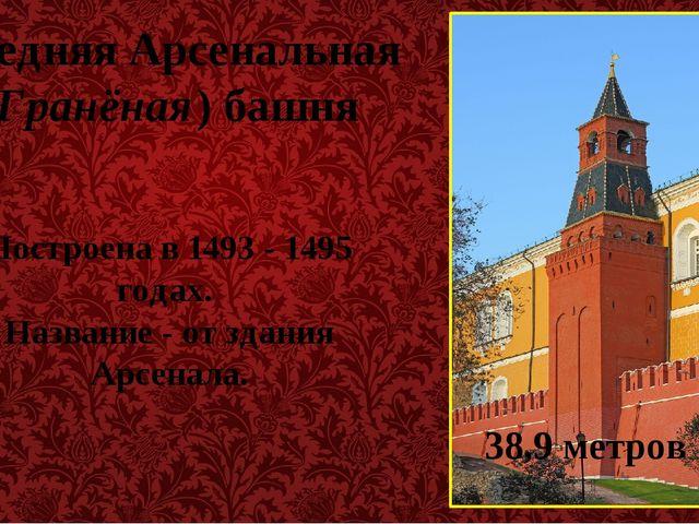 Средняя Арсенальная (Гранёная) башня Построена в 1493 - 1495 годах. Название...
