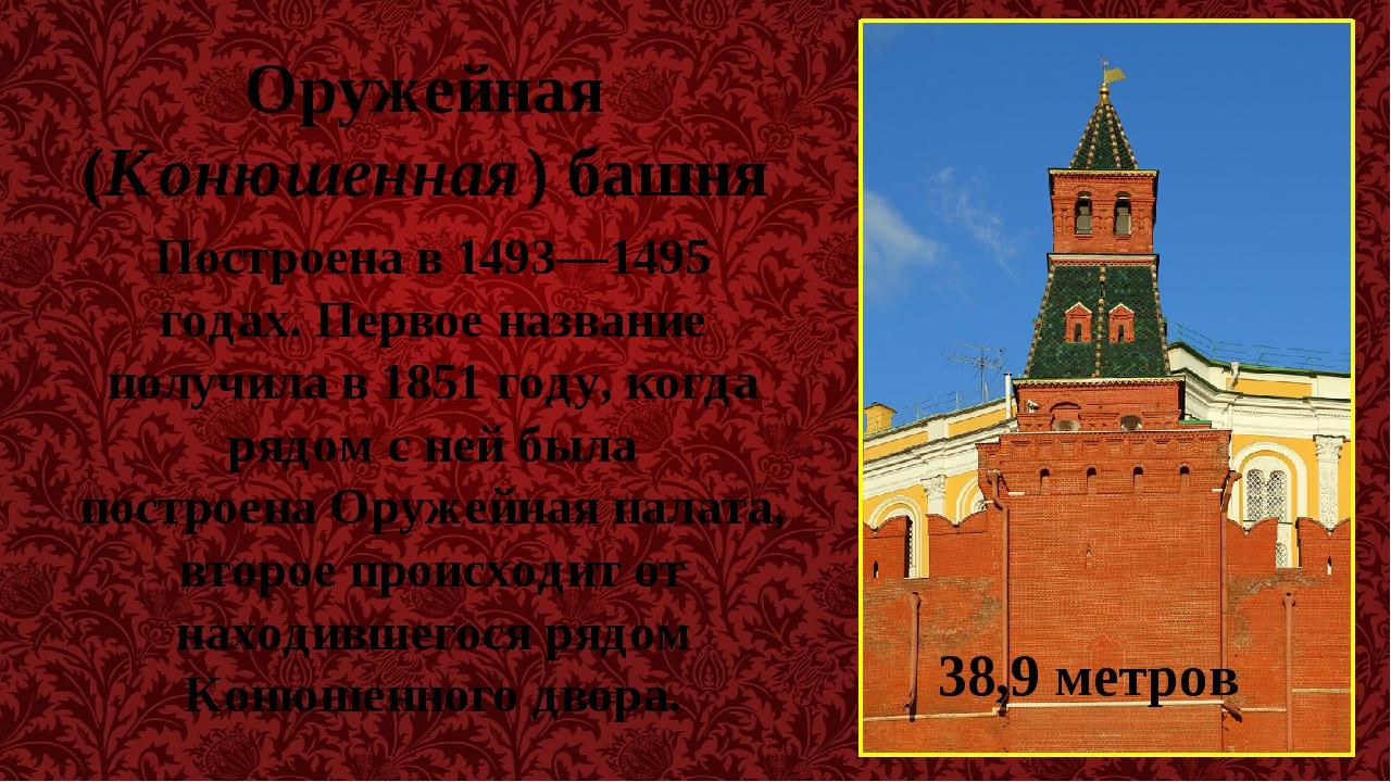 Оружейная (Конюшенная) башня Построена в 1493—1495 годах. Первое название пол...