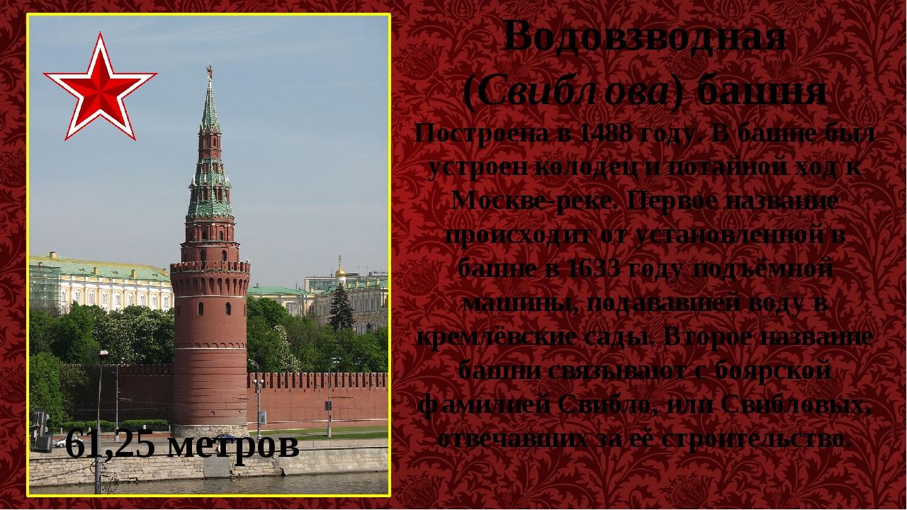 Водовзводная (Свиблова) башня Построена в 1488 году. В башне был устроен коло...