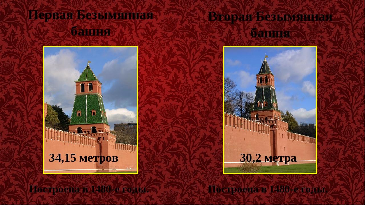Первая Безымянная башня Построена в 1480-е годы. Вторая Безымянная башня Пост...