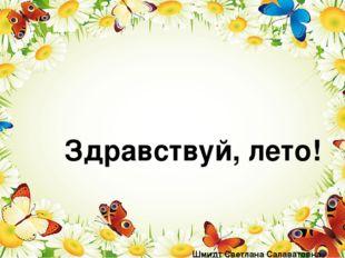 Здравствуй, лето! Шмидт Светлана Салаватовна воспитатель высшей квалификацио