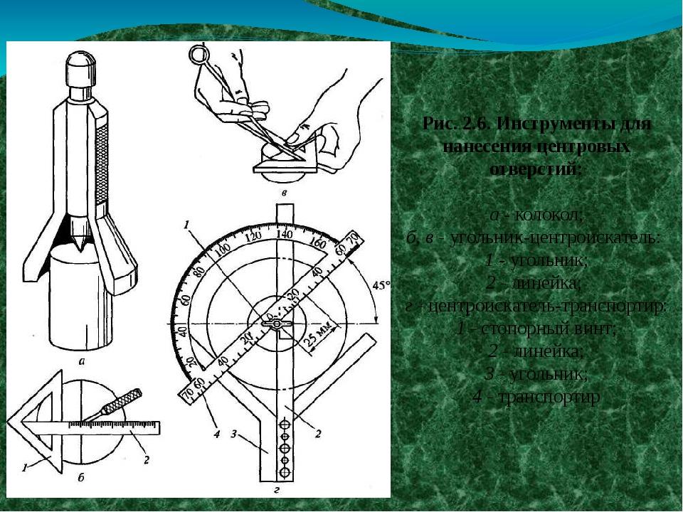 Рис. 2.6. Инструменты для нанесения центровых отверстий: а - колокол; б, в -...