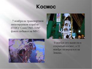 """Космос 7 ноября на транспортном пилотируемом корабле (ТПК) """"Союз ТМА-11М"""" фак"""