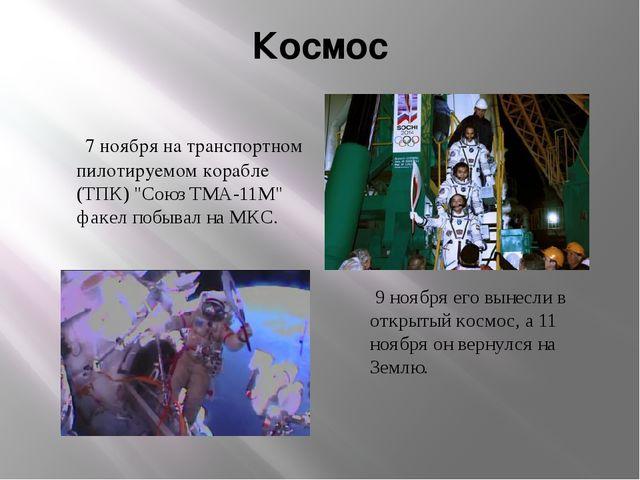 """Космос 7 ноября на транспортном пилотируемом корабле (ТПК) """"Союз ТМА-11М"""" фак..."""