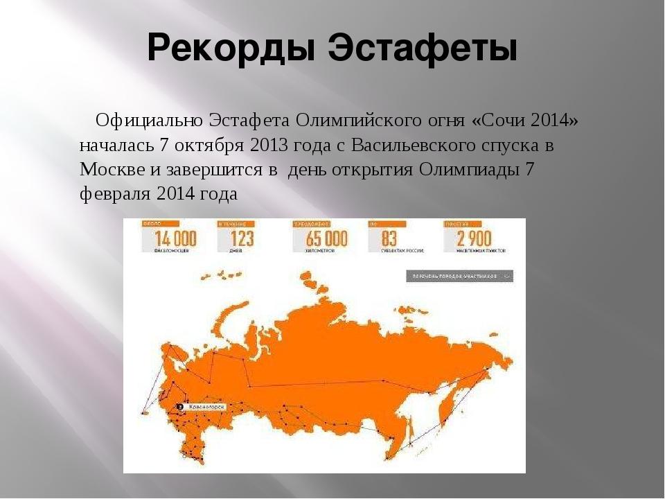 Рекорды Эстафеты Официально Эстафета Олимпийского огня «Сочи 2014» началась 7...