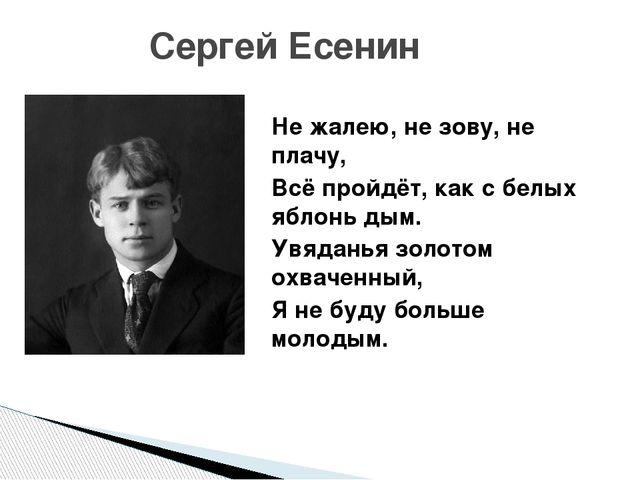 Сергей Есенин Не жалею, не зову, не плачу, Всё пройдёт, как с белых яблонь д...
